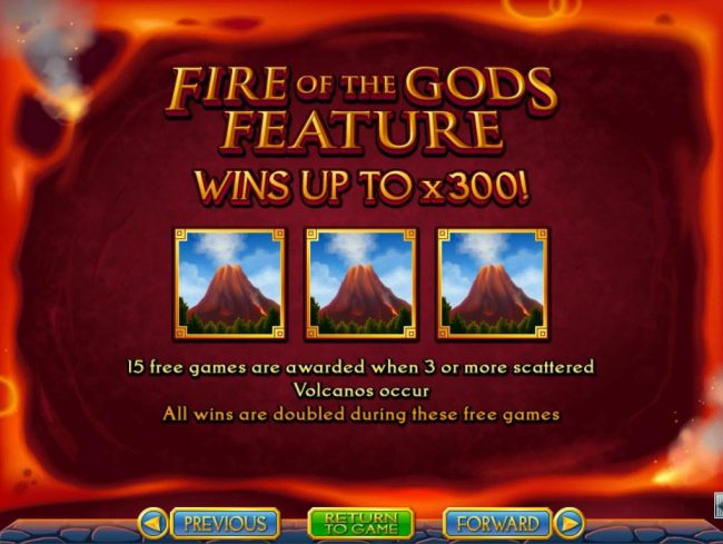 Fire of the Gods Feature - Win up to 300x!