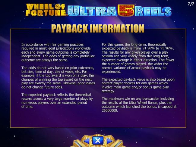 Payback Information - Theoretical return To Player is from 90.96% to 95.96. The maximum win on any transaction is capped at 250,000.
