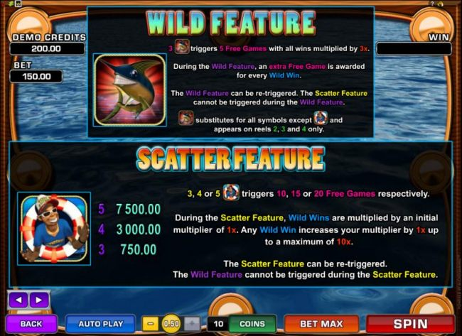 Wild and Scatter feature game rules and pays