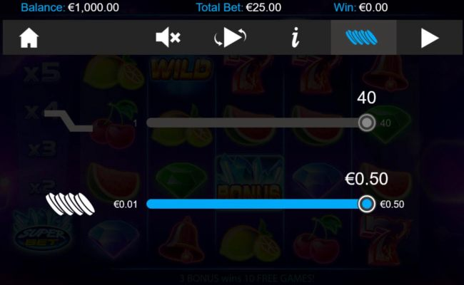 Click on the GEAR button to adjust the coin value played.