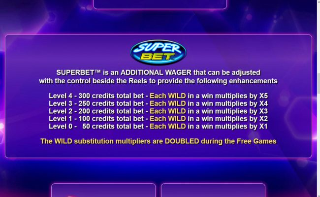 Superbet is an additional wager that can be adjusted with the control beside the reels to provide the following enhancements.
