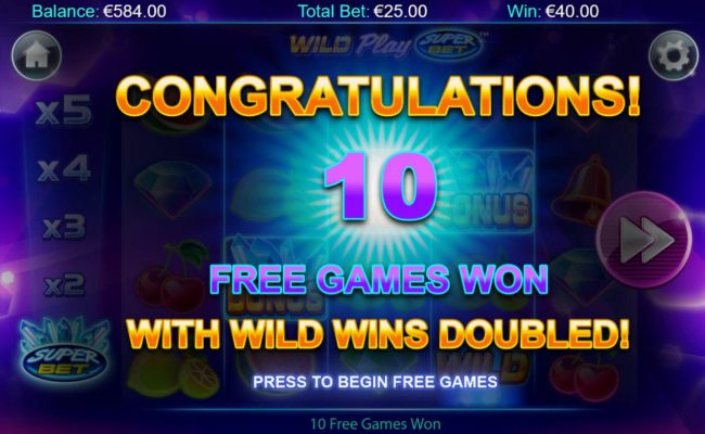 10 Free Games won with wild wins doubled.