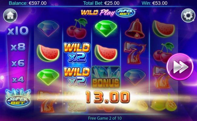 A pair of wild x2 multipliers triggers multiple winning paylines.