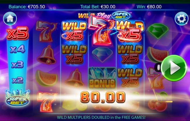 A big win triggered by x5 wild multipliers.