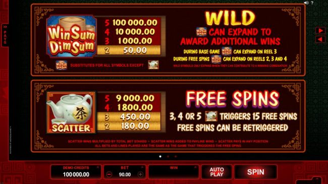 Wild symbol can expand to award additional wins during base game on reel 3. 3, 4 or 5 teapot scatter symbols triggers 15 free spins.